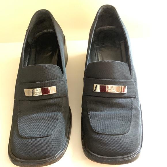 856741c6e85 Gucci Shoes - Vintage Gucci Black fabric Gucci Loafers 38 1 2C
